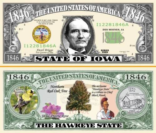 classic State of Iowa Dollar Bill Fake Funny Money Novelty Note with FREE SLEEVE