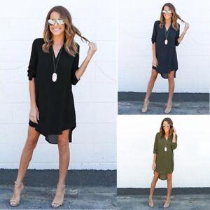 Summer-Womens-Top-Causal-Dress-Long-Sleeve-V-Neck-Tunic-Blouse-Tops-Shirt-Dress