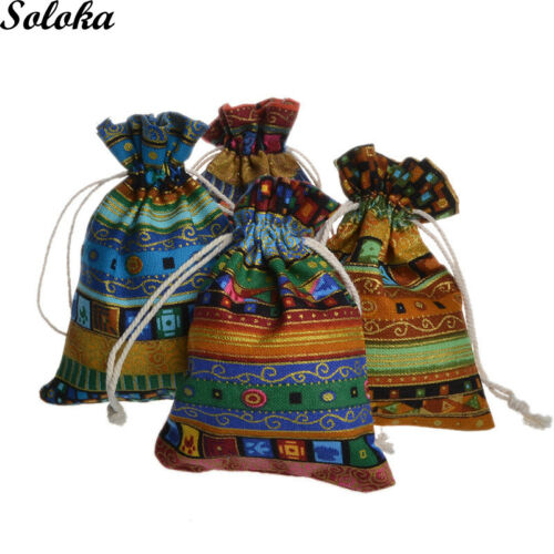 10Pcs//lot Vintage Printing Ethnic Style Linen Pouch Organza Drawstring Bags