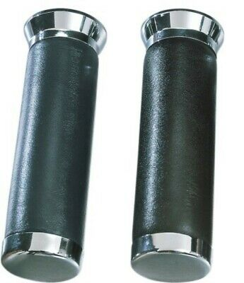 Black Leather /& Chrome Hand Grips for Honda Goldwing GL1200 GL1500 82-00
