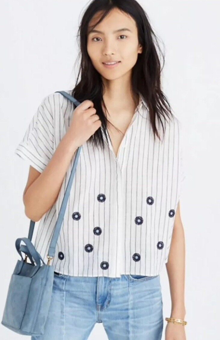New Madewell Embroiderot Hilltop Shirt H8274 Sz S