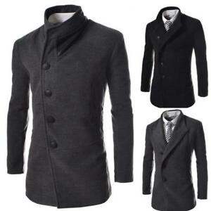 Casual-Mens-Coat-Wool-Blend-Trench-Jacket-Slim-Fit-Lapel-Outwear-Overcoat-Casual