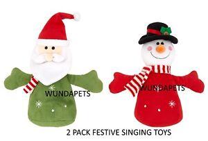 2-PACK-GOOD-BOY-FESTIVE-SINGING-CHUMS-CHRISTMAS-SOFT-DOG-TOYS-SNOWMAN-amp-SANTA