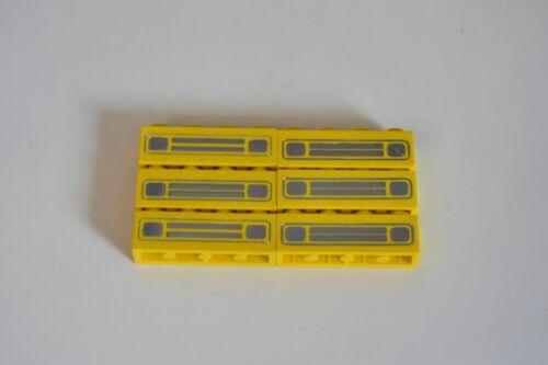 LEGO 6 x pietra stampata GIALLO YELLOW Brick 1x4 car grille pattern 3010pb035e