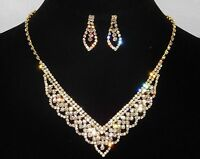 Bridal Gold W. Clear Rhinestone Necklace And Earrings Set