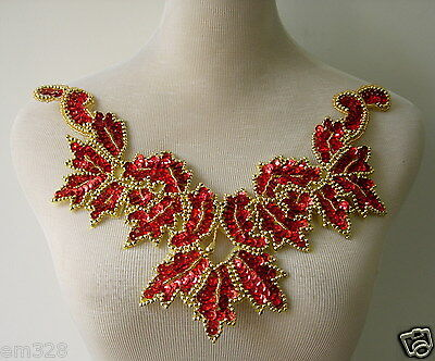 NK17 Floral Neckline Collar Front Sequined Beaded Applique Sew On Motif Red Gold