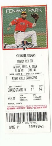 2014 BOSTON RED SOX VS BREWERS OPENING DAY RING CEROMONY TICKET STUB 4//4//14 TM