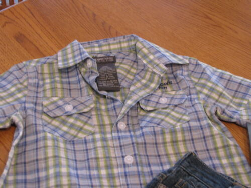 Boy/'s Baby Kenneth Cole jean shorts button shirt 24 MO months