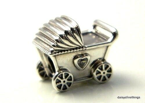 91cc3acff41e7 Authentic PANDORA 925 Baby s Pram Adorable Stroller Charm Pendant 792102cz  for sale online
