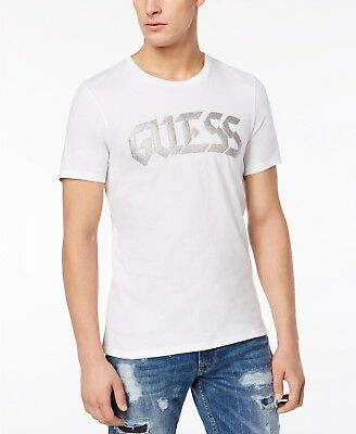 $95 GUESS Men/'s RED SILVER LOGO GRAPHIC SHORT-SLEEVE CREW NECK TOP TEE T SHIRT S