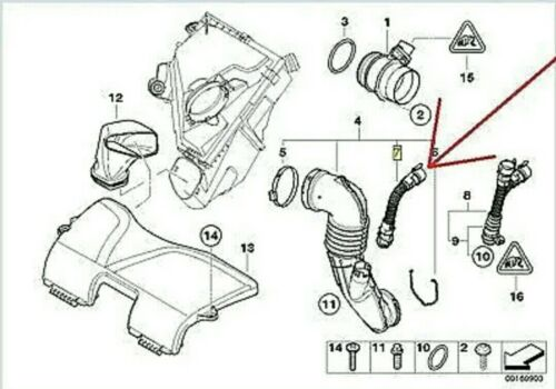 100/% Genuine BMW Rocker Cam Cubierta Para Respiradero Tubo 13717803842 todas las series Turbo
