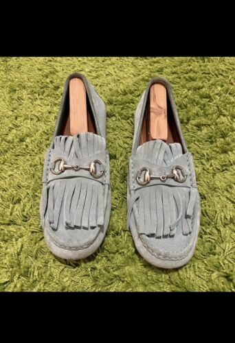Gucci Horsebit Loafers In Fringed Suede