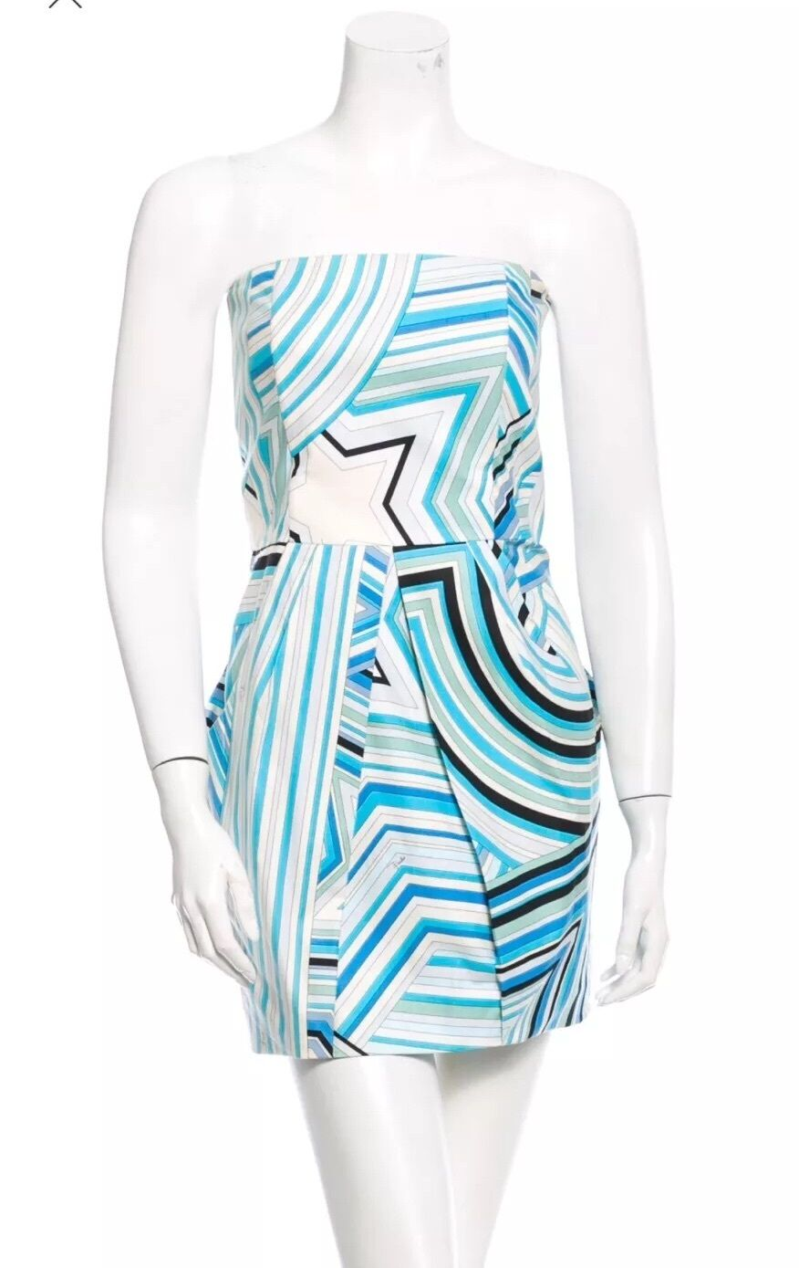 Emilio Pucci Strapless Cotton Dress Small