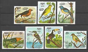 Voegel-Kampuchea-69-Serie-komplette-mit-7-Briefmarken-entwertet