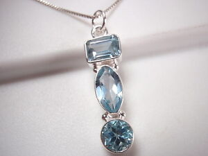 Faceted-Blue-Topaz-Baguette-Marquise-3-Gem-925-Sterling-Silver-Pendant