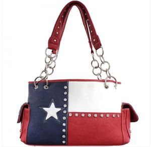 Gun CCW Handbag Concealed Carry Vintage Texas Flag Purse Rhinestone Bling Bag
