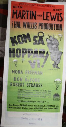 Dean Martin Jerry Lewis original RARE Swedish film poster Jumping Jacks 1952