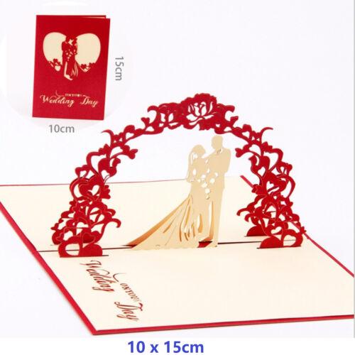 3D Pop Up Greeting Card Birthday Anniversary Valentine/'s Day Wedding Card Red