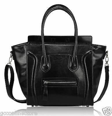 Womens Ladies Designer Smiley Bag Leather Style Tote Shopper Handbag