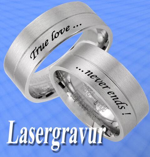 2 Trauringe individuelle Aussengravur Lasergravur JE7L