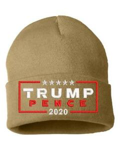 Trump Pence 2020 Embroidered Winter Cuff Knit Hat - Various Colors ... 4de53199c4f