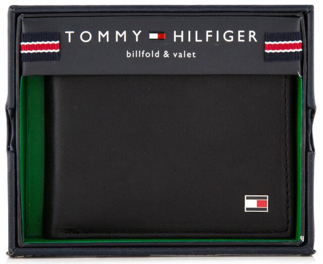 MENS TOMMY HILFIGER GENUINE LEATHER OXFORD SLIM BILLFOLD WALLET BLACK GIFT BOXED