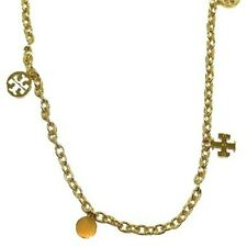 NWT Tory Burch Gold  Logo Charm Rosary  Necklace with Dust Bag $175