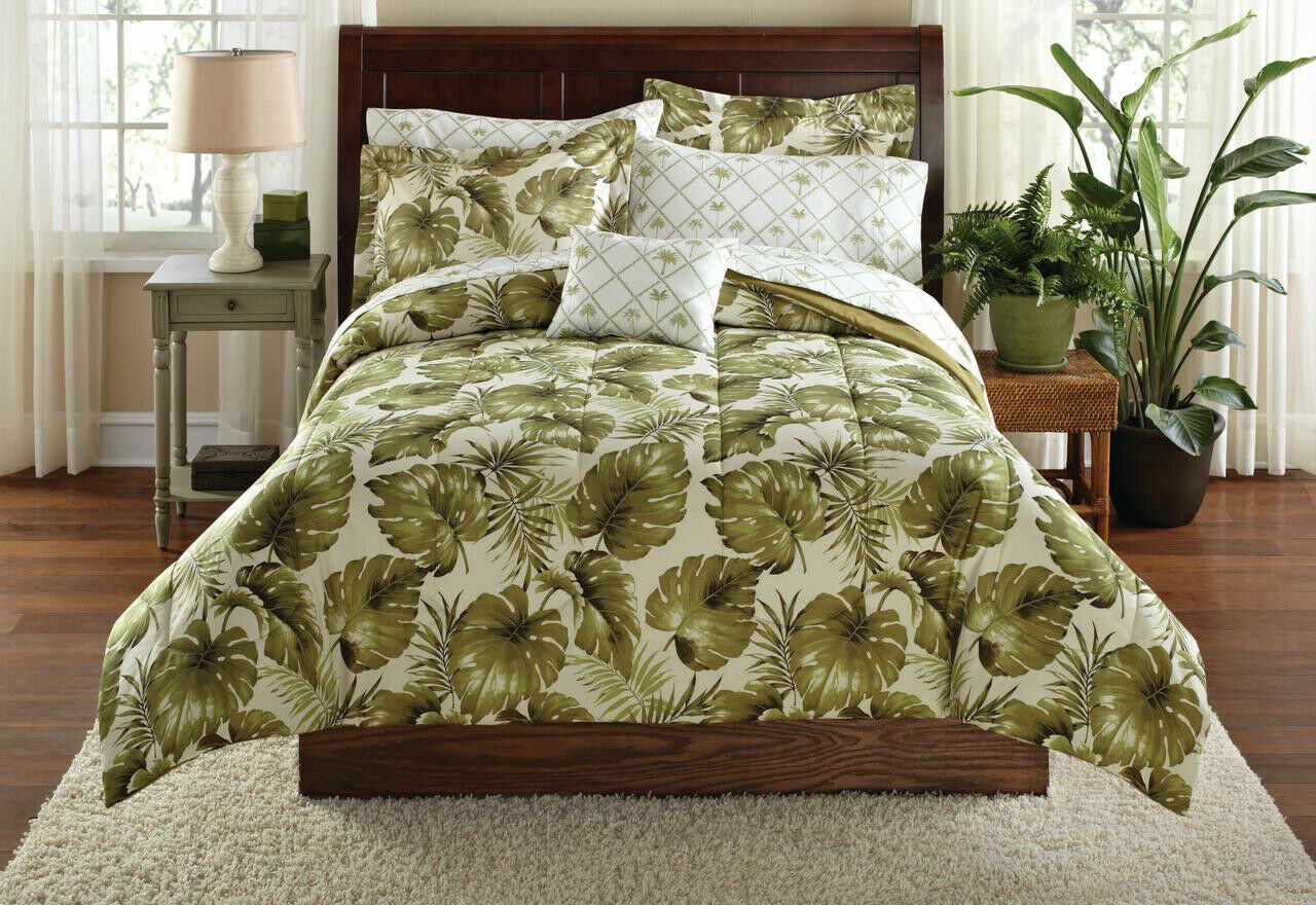 Bedding Set Queen Größe Palm Grove Bed In A Bag Coordinating Leaf Reversible