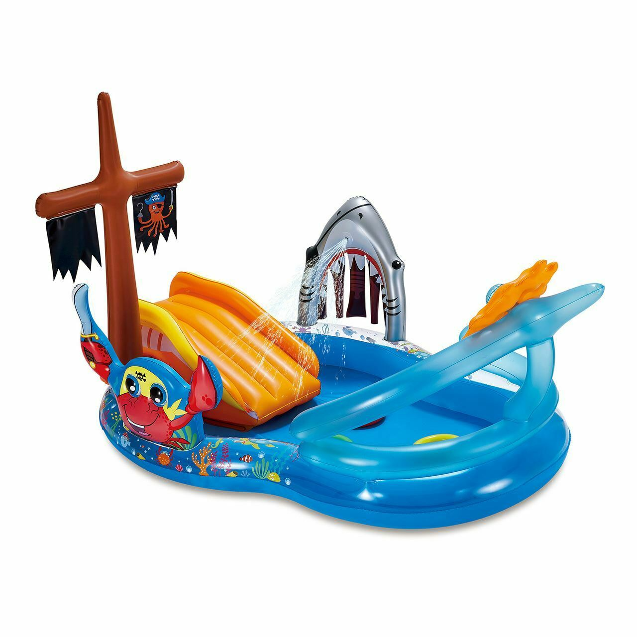 Summer Waves Inflatable Pirate Ship Swimming Kids Pool Play Center Water Sprayer