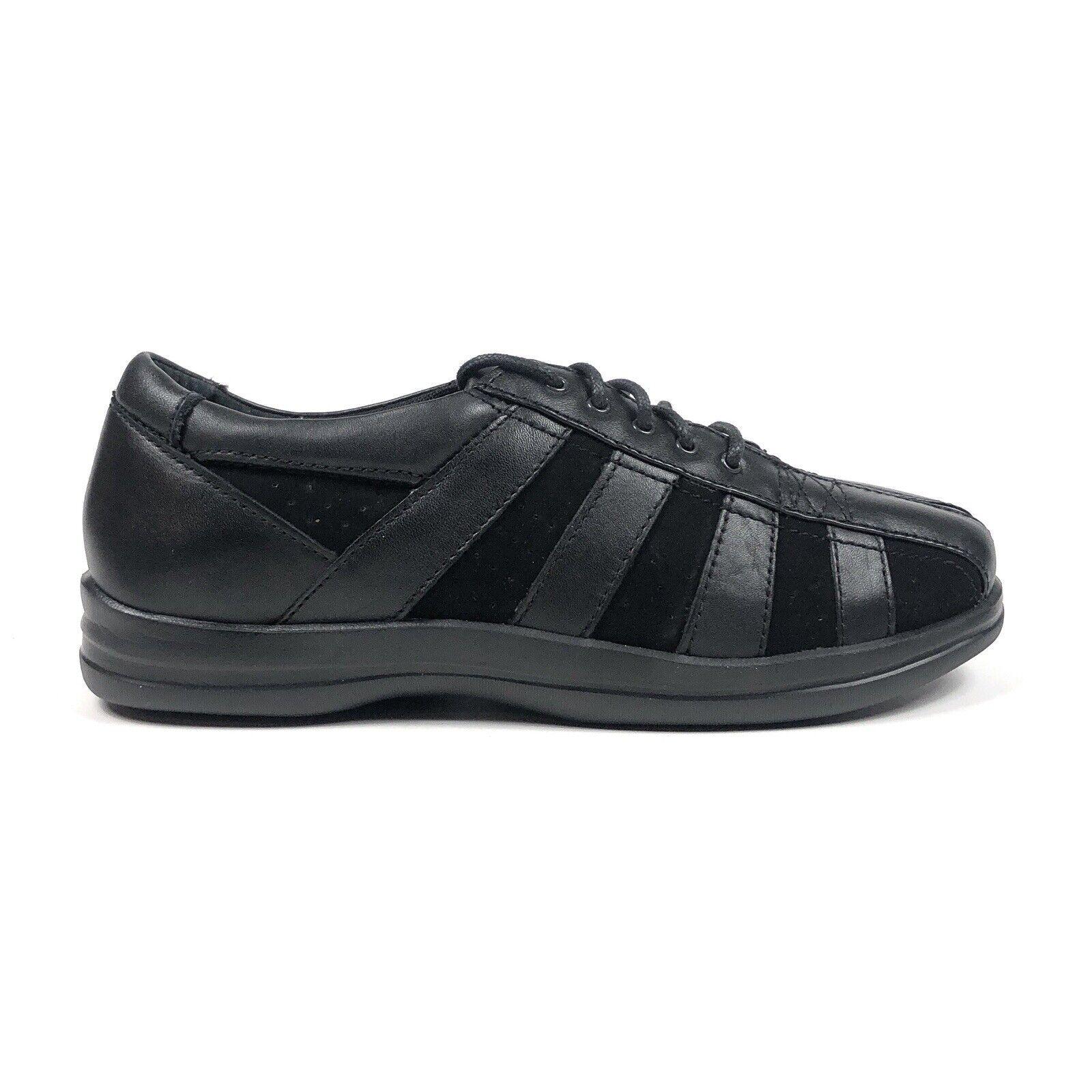 Apex Petals Eliza Womens 8 Wide Black Leather Non Slip Comfort Shoes Sneakers