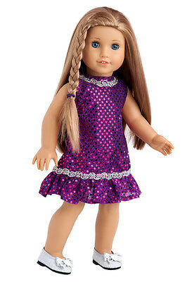 Violet - Doll Clothes for 18 inch American Girl, Party Dress Silver Belt Shoes