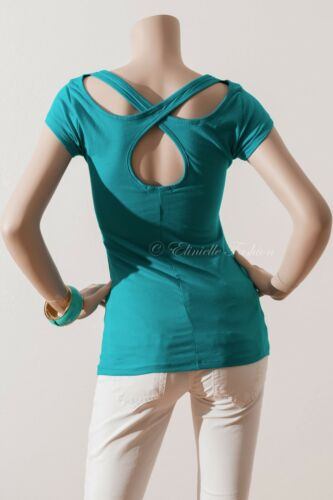 New Women/'s Short Sleeve Cotton Span Solid Top Cutout Back Casual Jade S M L