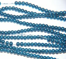 BARGAIN ~ 1 strand ROUND PEARL GLASS Beads ~ 3mm ~ TEAL BLUE ~ 110 beads