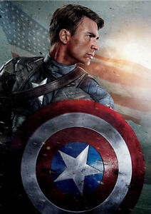 STICKER AUTOCOLLANT POSTER A4 FILM CAPTAIN AMERICA-AVENGERS.THE FIRST AVENGER