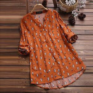 041974ed4d2de0 Details about Ladies Casual V-Neck 3 4 Sleeve Cat Print Tops Womens Plus  Size Shirt Blouse Top