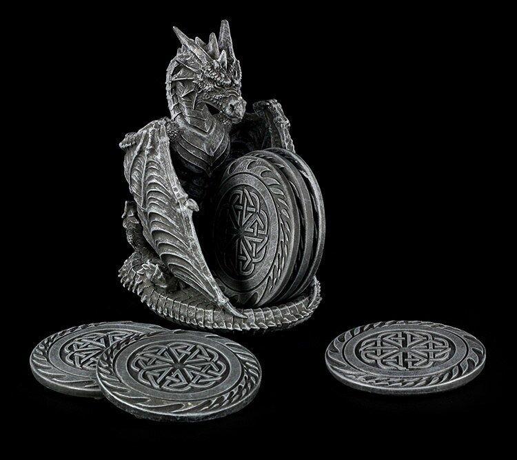 Dessous de Plats Set avec Drachenhalter - Dragons Lair - Fantasy Couvert Table