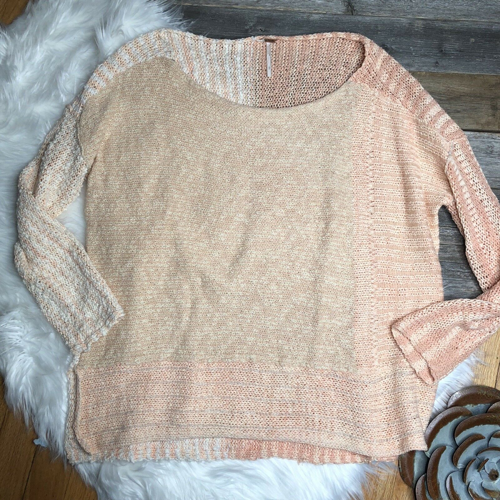 FREE PEOPLE Sweater Thin Knit Size Size Size Small Pink Peach c6e827