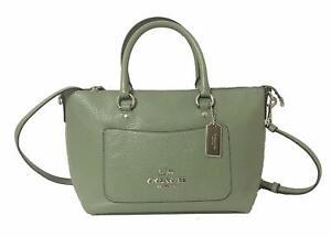 NWT-COACH-Mini-EMMA-Satchel-Crossbody-Leather-Clover-Green-Silver-Classic-F31466