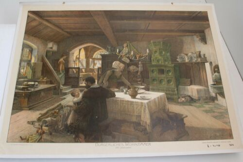 Antique schulwandtafel Wall Chart Civil Living Room xvi. Century Wachsmuth