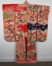 Vintage Japanese Furisode Kimono - Yusen Dyeing Shibori Embroidery Couching