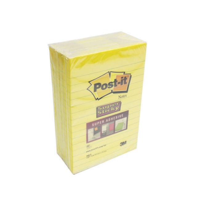 3M POST-IT Super Adesivo a Righe Notes 102 x 152mm   Confezione da 6 Ultra