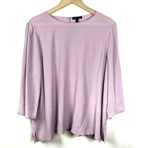 EILEEN FISHER Blouse L Large 100% Silk Top Lavende