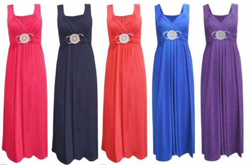 2s LADIES LONG PARTY COCKTAIL EVENING PROM BUCKLE WOMEN/'S MAXI DRESS SIZE 8-26