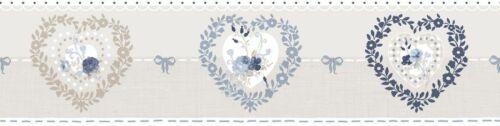 Essener Tapete Primavera Borte 7592 Herzen Herzchen grau blau Bordüre Vlies