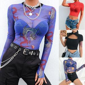 UK-Women-Sexy-Dragon-Print-Sheer-Mesh-See-through-Long-Sleeve-Top-T-Shirt-Blouse