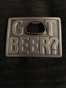 Vintage 1999 Got Beer? Metal Pants Belt Buckle Bottle Opener Bergamot Delavan WI