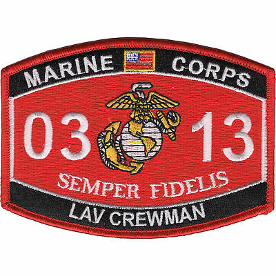 """Crewman Mos Patch 4 1/2"""" X 3 1/4"""" With The Most Up-To-Date Equipment And Techniques Marine Corps 0313 Light Armored Vehicle lav"""