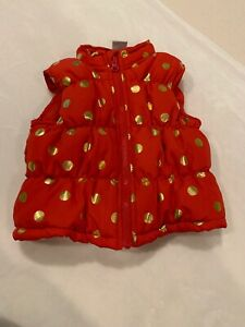 81cc8c3a6 Healthtex Baby 24 Months Red With Gold Polka Dots Puffer Vest Zip Up ...