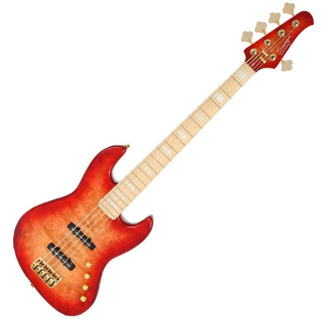 Swing Jazz 5V rot Burst Alder Burl Top Canadian Hard Maple Bass Guitar
