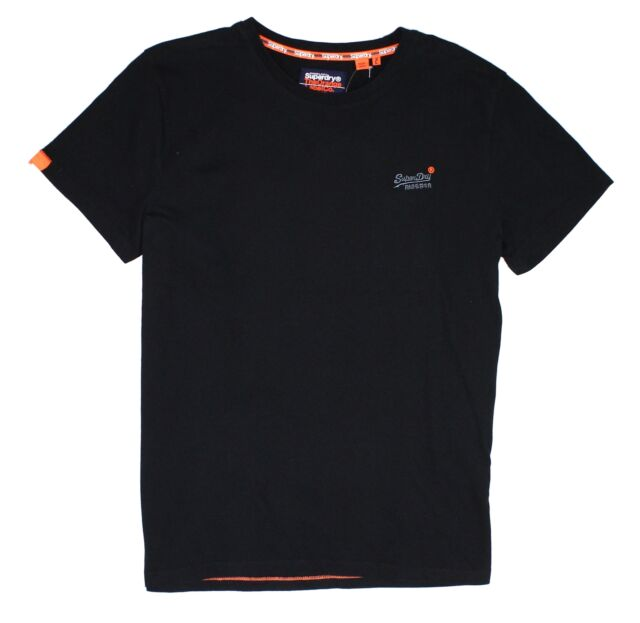 Superdry Mens T-Shirt Black Size XL Vintage Embroidered Logo Crewneck Tee #071